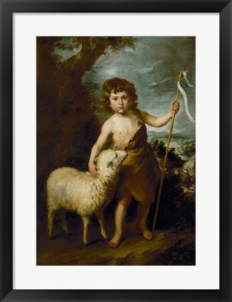 Framed Young John the Baptist with the Lamb Print