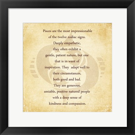 Framed Pisces Character Traits Print