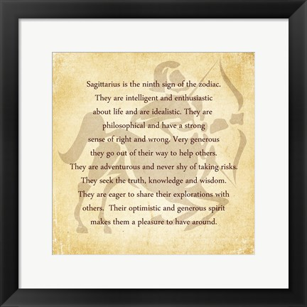 Framed Sagittarius Character Traits Print