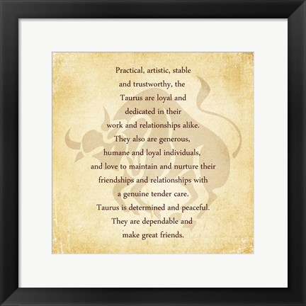 Framed Taurus Character Traits Print