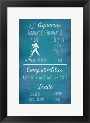 Framed Aquarius Zodiac Sign Print