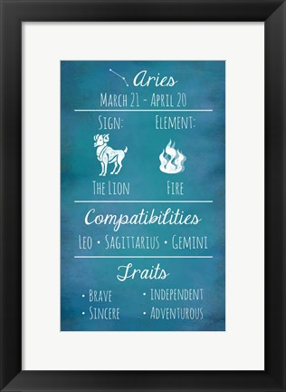 Framed Aries Zodiac Sign Print