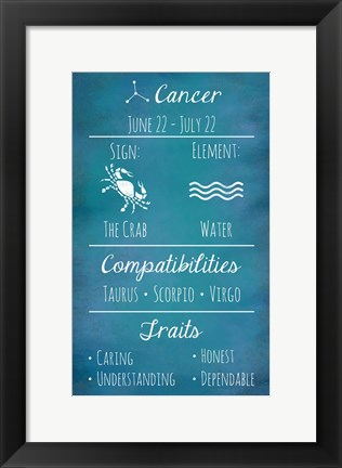 Framed Cancer Zodiac Sign Print