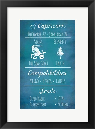 Framed Capricorn Zodiac Sign Print