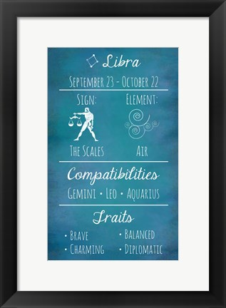 Framed Libra Zodiac Sign Print