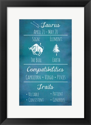 Framed Taurus Zodiac Sign Print
