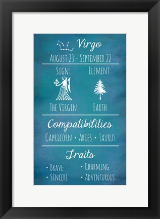 Framed Virgo Zodiac Sign Print