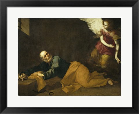 Framed Saint Peter Freed by an Angel, 1639 Print