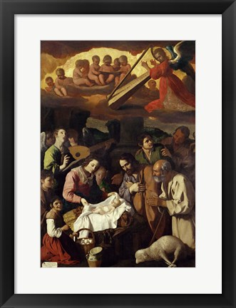 Framed Adoration of the Shepherds, 1638 Print