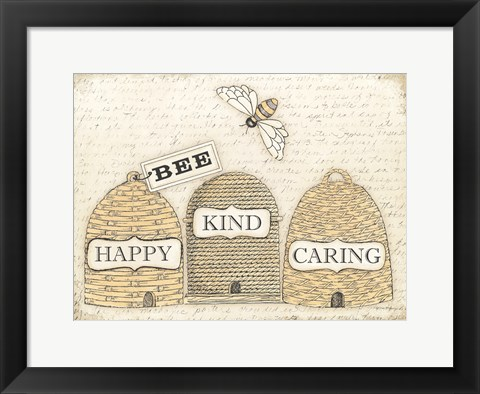 Framed Bee Happy Print
