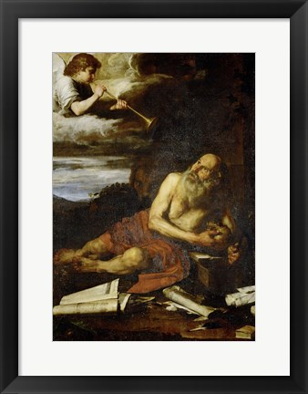 Framed Saint Jerome with the Angel of the Last Judgement Print