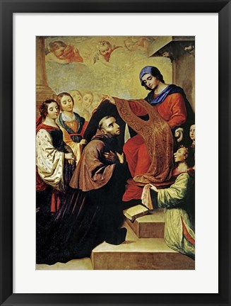 Framed Descent of Virgin Mary to Reward the Writing of Saint Ildefonso of Toledo Print