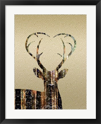 Framed Deer Gold Print