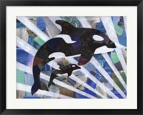 Framed Killer Cute Whales Print