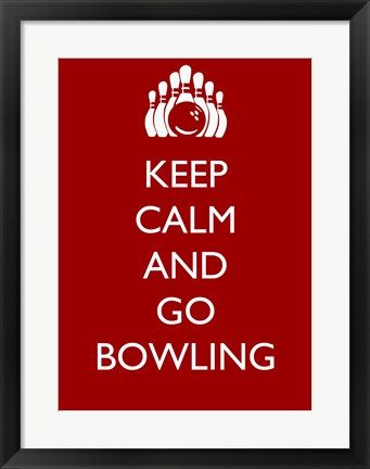 Framed Keep Calm and Go Bowling Print