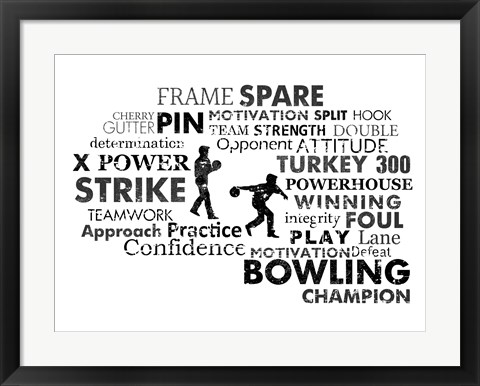 Framed Bowling Text Print