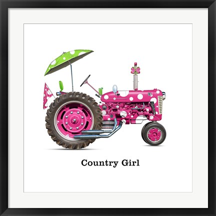 Framed Country Girls Tractor Print