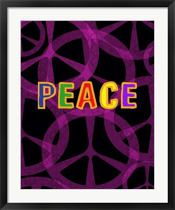 Framed Peace (magenta/black) Print