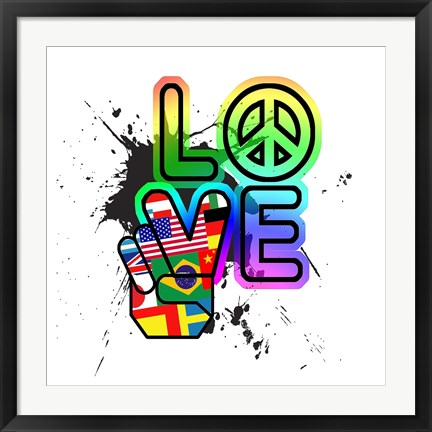 Framed World Peace & Love Print