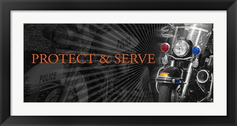 Framed Protect and Serve - Motorcycle Print