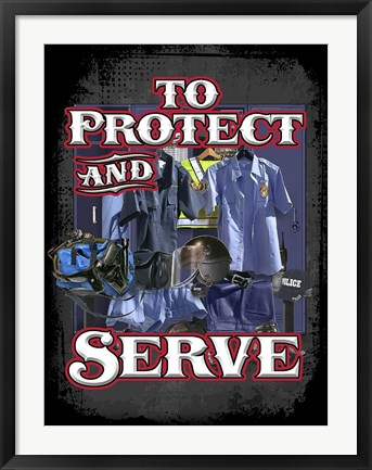 Framed Protect and Serve Print
