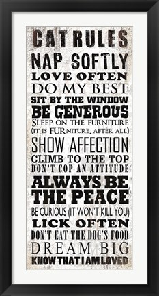 Framed Cats Rules Print