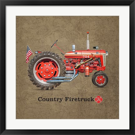 Framed Fire Tractor Print