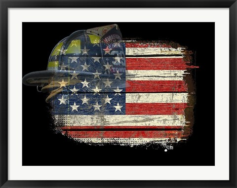 Framed Flag Helmet Print