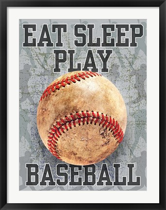 Framed Eat Sleep Play Baseball Print