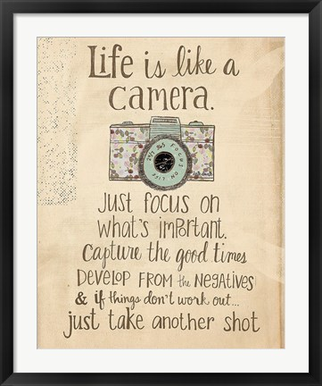 Framed Life Is Like a Camera Print
