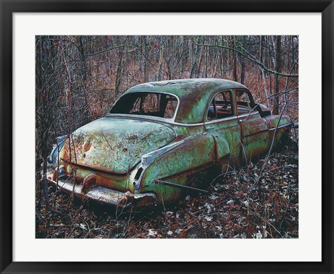 Framed Old Car in the Woods Print