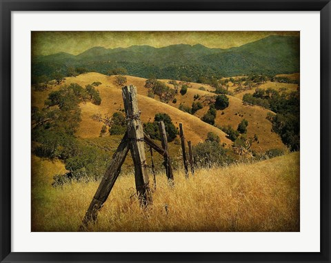 Framed Weathered Ranch Fence Print
