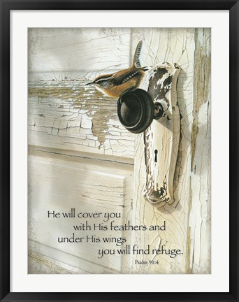 Framed He Will Cover You Print