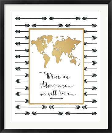 Framed Faux Gold Map Print