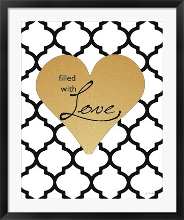 Framed Faux Gold Filled with Love Print