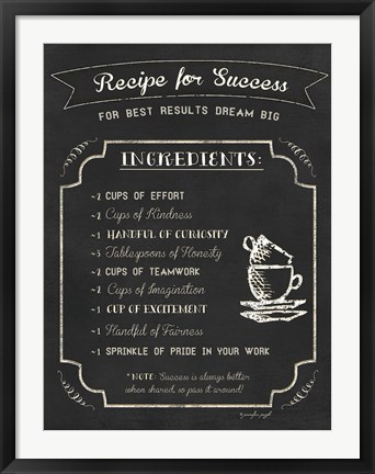 Framed Recipe for Success Print