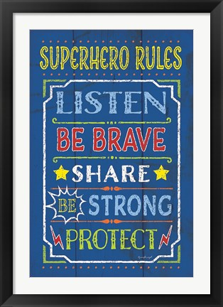 Framed Superhero Rules Print