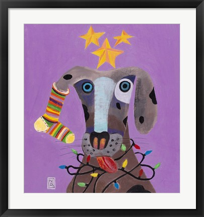 Framed Christmas Dog Print