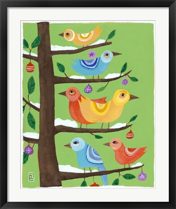 Framed Six Christmas Birds Print