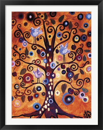 Framed Tree Whimsy And Blue Birds Print