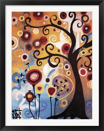 Framed Tree Whimsy And Flowers Print