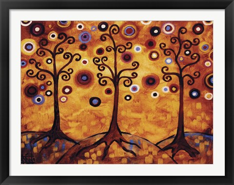 Framed Tree Whimsy Of Three Orange Print