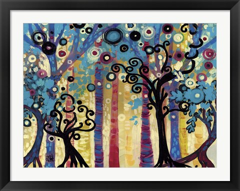 Framed Tree Whimsy In Blud Forest Print