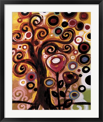 Framed Swirling Tree Whimsy On Orange Print