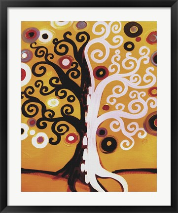 Framed Dual Tree On Orange Print