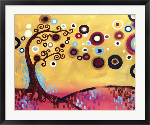 Framed Swirling Trees Peach Sky Print