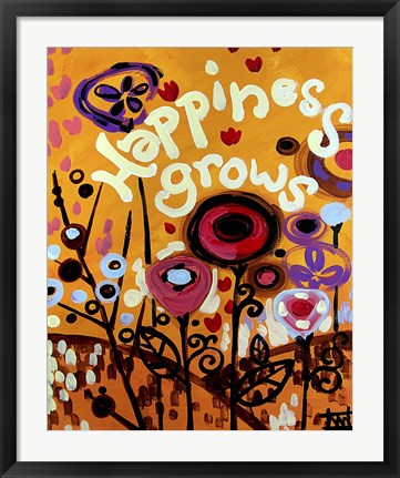 Framed Happiness Grows Flowers Print