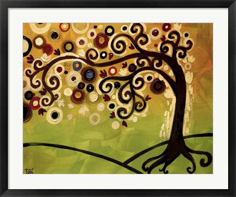 Framed Black And Cream Tree Swirl Print