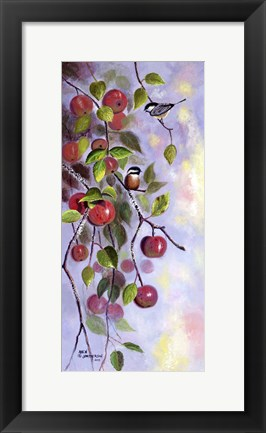 Framed Apple and Chickadees Print