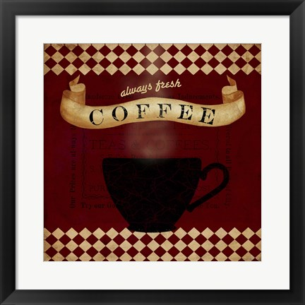 Framed Coffee Red Always Fresh Print